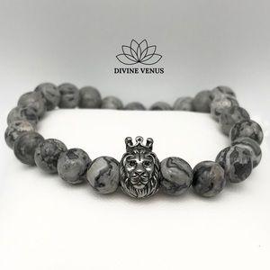 Picasso Jasper Stone Lion Stretch Bracelet